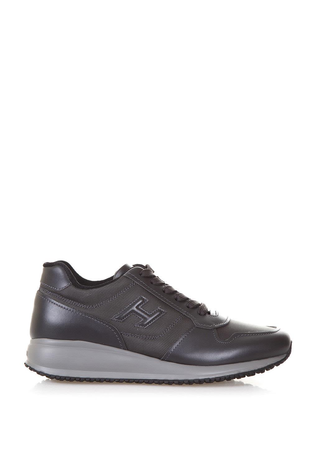 Hogan Men's Shoes Leather Trainers Sneakers Interactive N20 In Grey