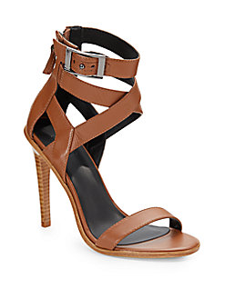 Tibi Vanya Leather Ankle-Strap Sandals In Brown