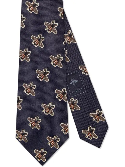 Gucci Bees Pattern Silk Tie In Blue