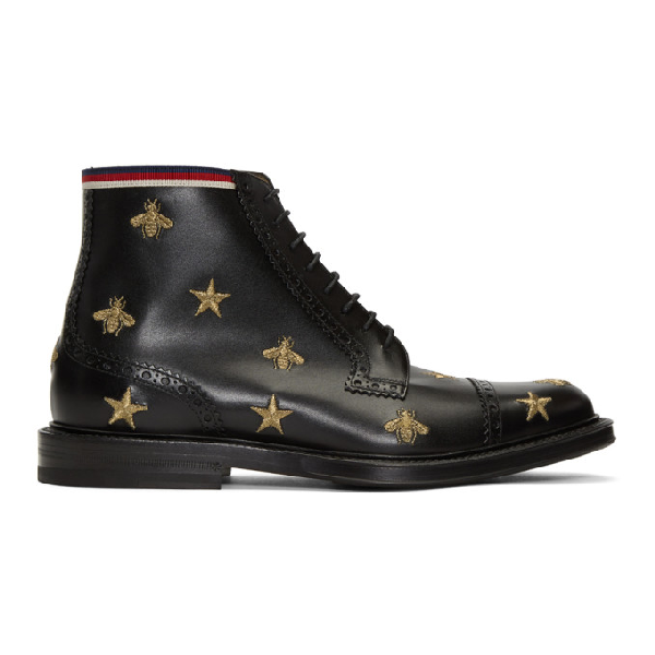 Gucci Leather Embroidered Brogue Boot In Black