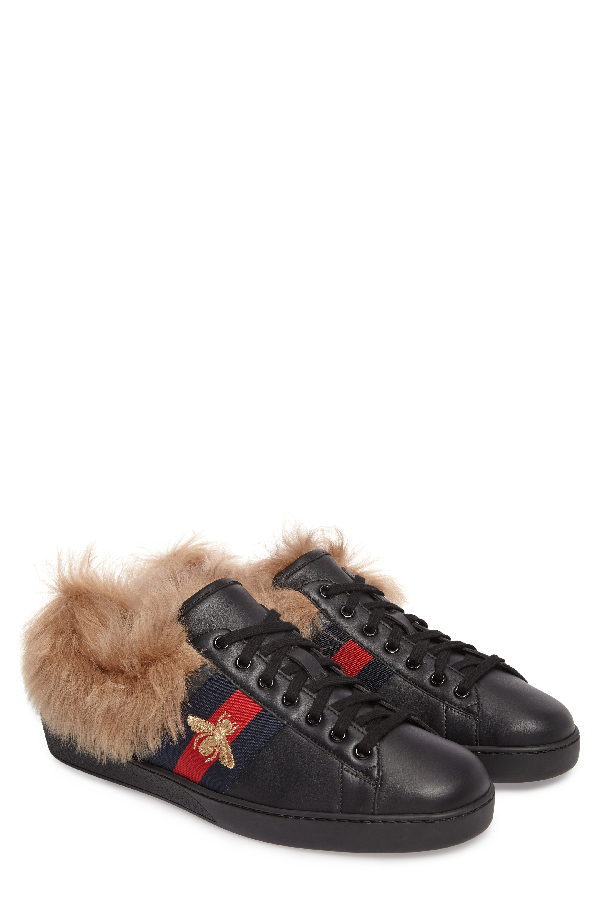 c8602f67c Gucci New Ace Shearling-Lined Leather Trainers In Black | ModeSens