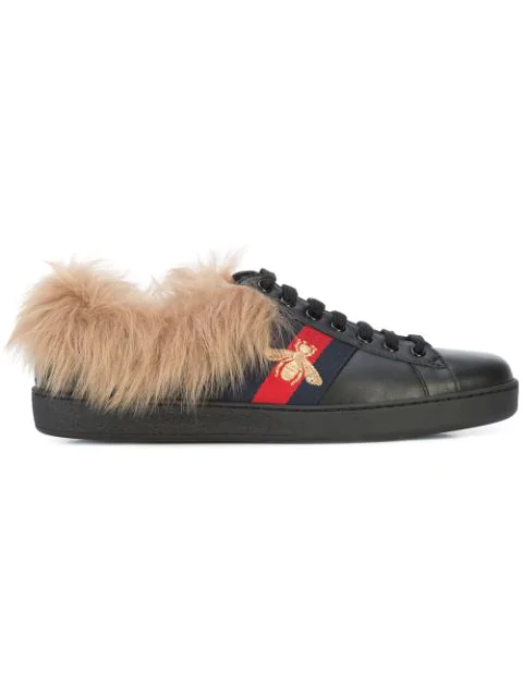 Gucci New Ace Shearling-Lined Leather Trainers In Black