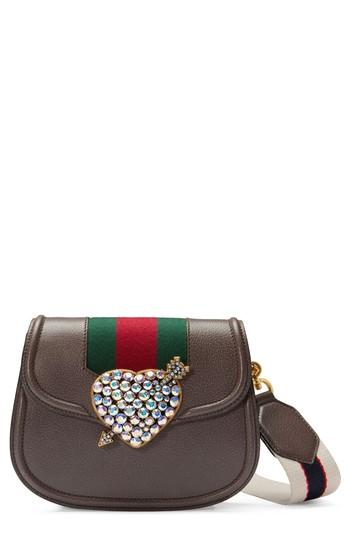 8bd91a4cd Gucci Small Linea Totem Crystal Heart Shoulder Bag - Black In Brown ...
