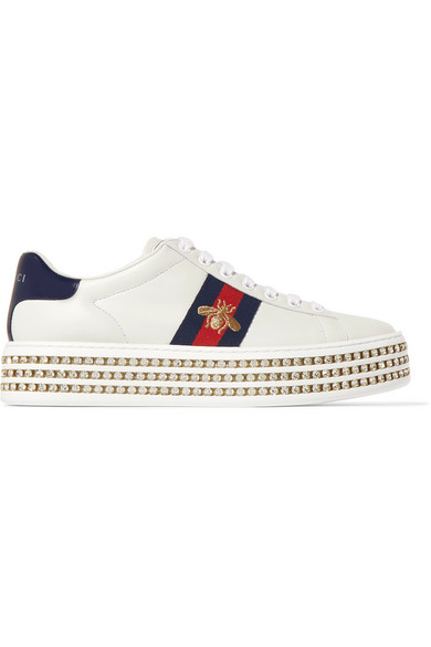 024a87192a2 Gucci New Ace Crystal Bee-Embroidered Leather Sneakers In White ...