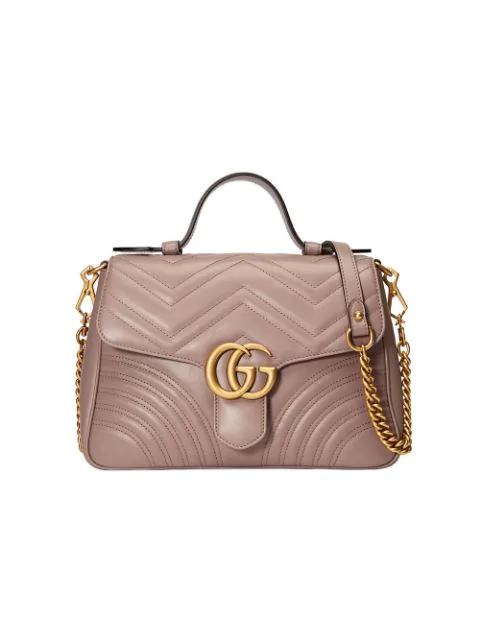 7fdc387bb279 Gucci Gg Marmont Small Chevron Quilted Top-Handle Bag With Chain Strap In  5729 Light