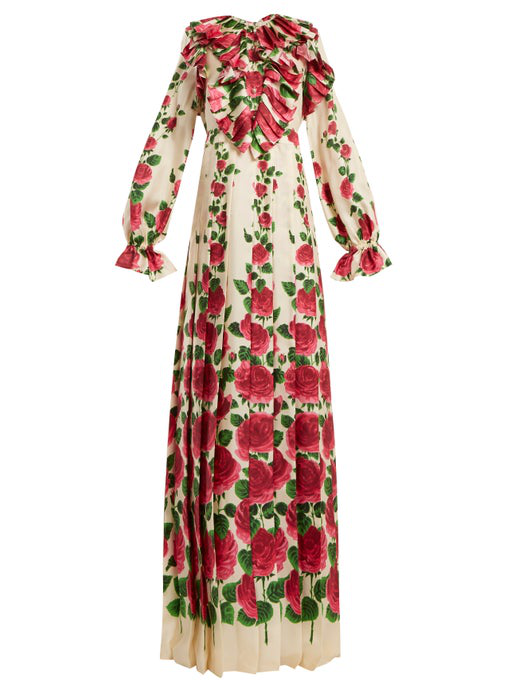 99e29dc35 Gucci Ruffled Floral-Print Silk-Twill Gown In Pink | ModeSens