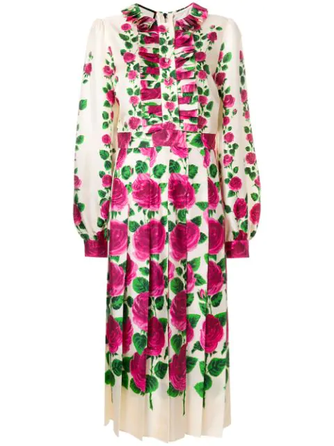 Gucci Ruffled Floral-print Silk-twill Gown In Pink