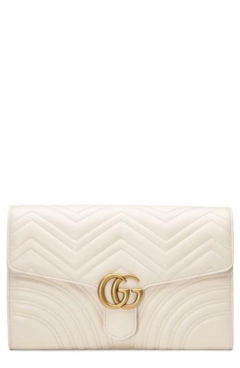 48cb8d31082b Gucci Gg Marmont 2.0 Matelasse Leather Clutch - White In Mystic White