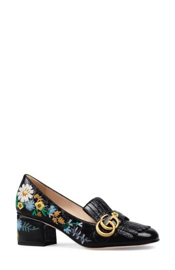 ddd484e52 Gucci Women's Marmont Embroidered Patent Leather Mid Heel Loafers In Black