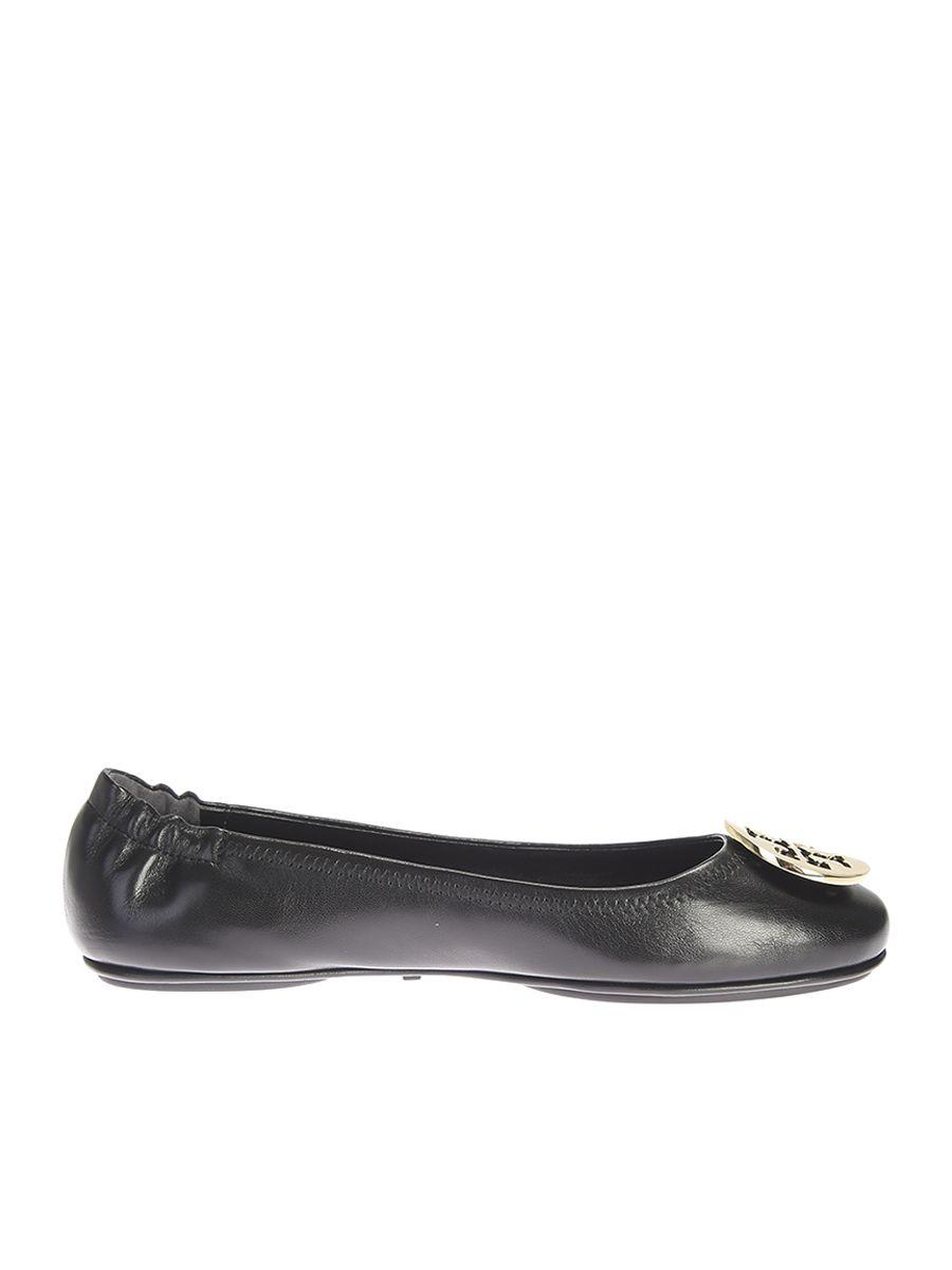Tory Burch Leather Minnie Ballerina Shoes In Black