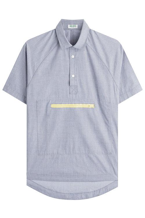 Kenzo Cotton Shirt In Blue