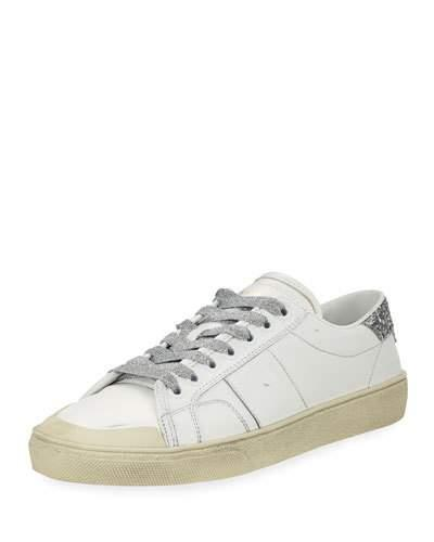 Saint Laurent Leather Low-Top Glitter Platform Sneakers In White