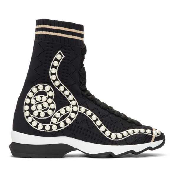 Fendi Rockoko Pearland Embellished Sock Sneaker In Black