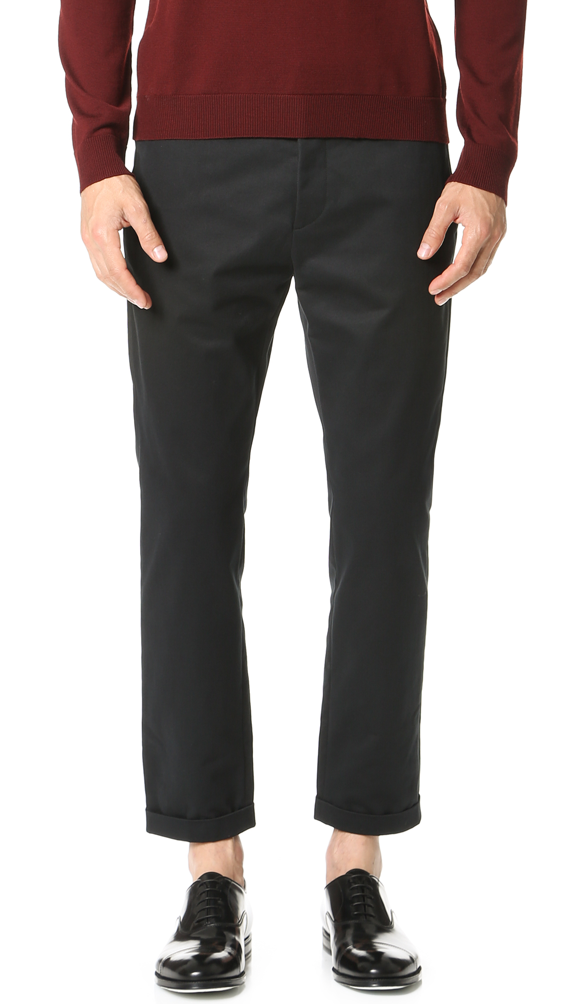 Marni Slim Cropped Sanded Twill Trousers In Black