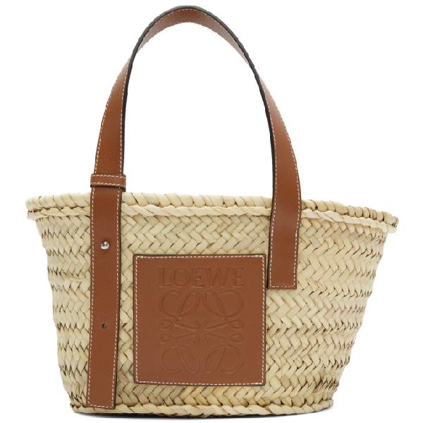 Loewe Large Logo Raffia Basket Bag With Leather Trim In 2435 Natura