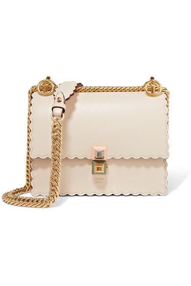 2948ea9ae0f72 Fendi Kan I Mini Scalloped Leather Shoulder Bag In Ivory