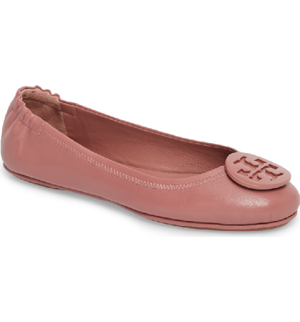 5290a73b2 Tory Burch Women s Minnie Leather Travel Ballet Flats In Pink Magnolia