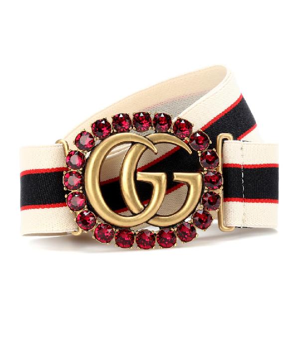 54369f3776b Gucci Elastic Stripe Belt W  Double G Crystal Buckle In Multicoloured