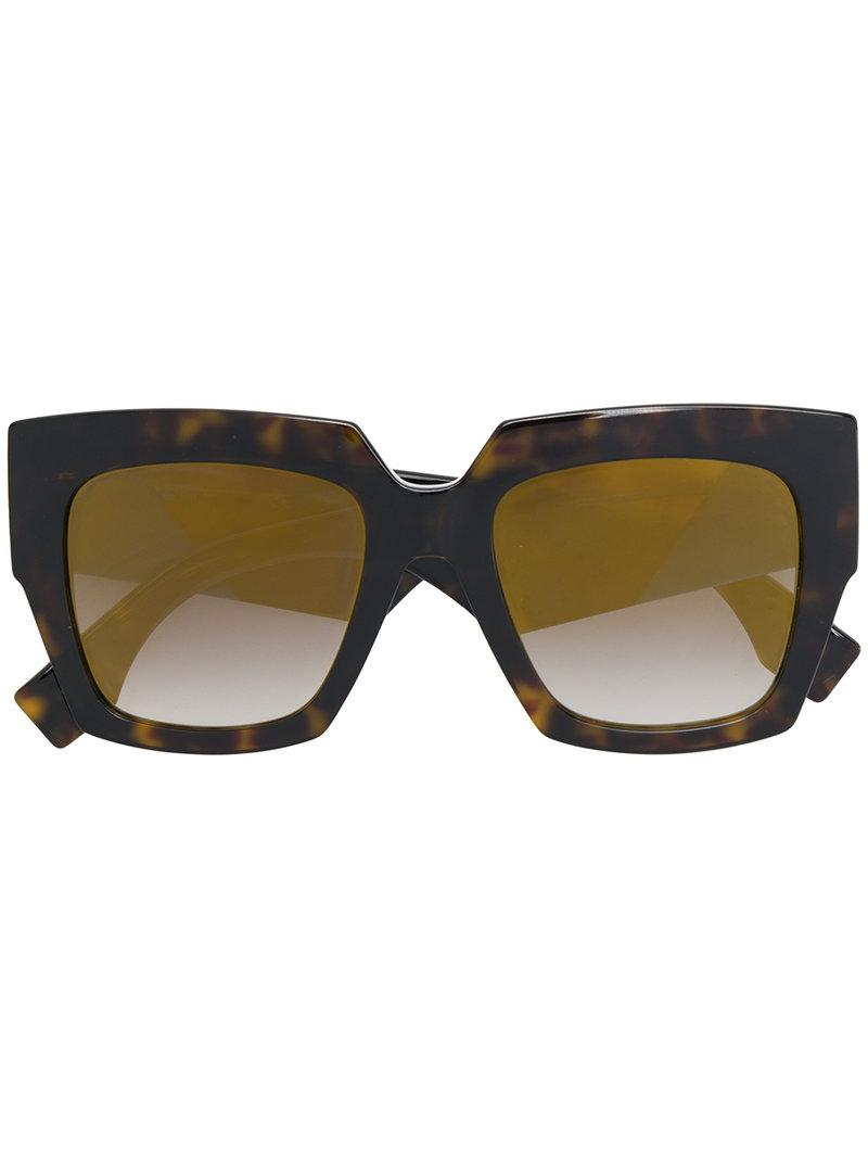 8cdf51d403 Fendi Eyewear Oversized-Sonnenbrille Mit Dickem Gestell - Braun In Brown