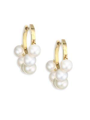 Sydney Evan Freshwater Pearl Huggie Earrings In Yellow Gold