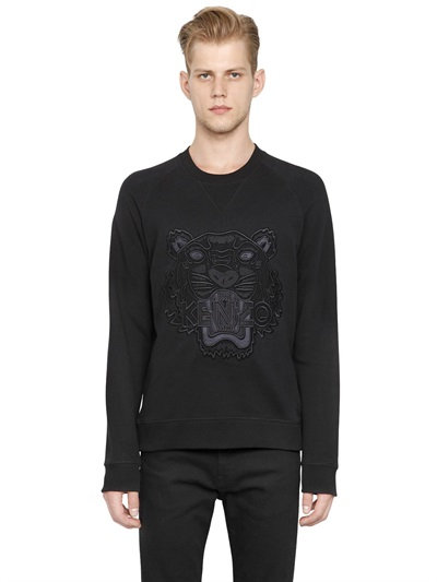 Mesh SweatshirtBlack Mesh SweatshirtBlack Embroidered Cotton Tiger Tiger Mesh Embroidered Tiger Cotton Embroidered fy7b6gYv