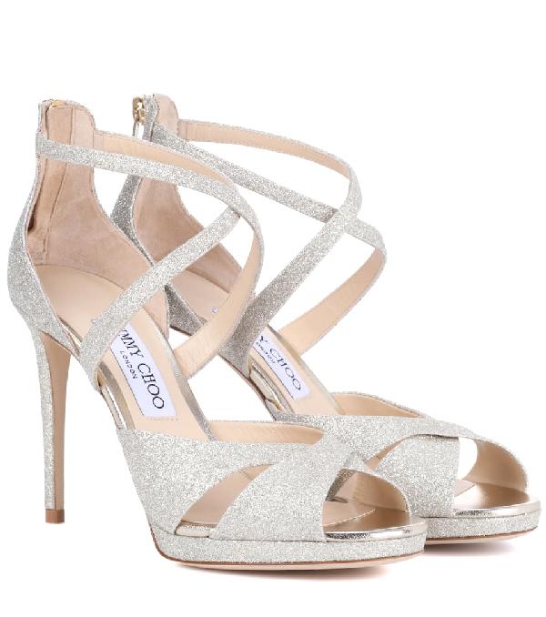 96c4277c665 Jimmy Choo Lorina 100 Glitter-Leather And Satin Heeled Sandals In Metallic