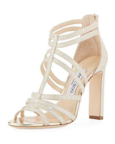 b0fc6aeca06 Jimmy Choo Women s Selina 100 Glitter High-Heel Sandals In Gold ...