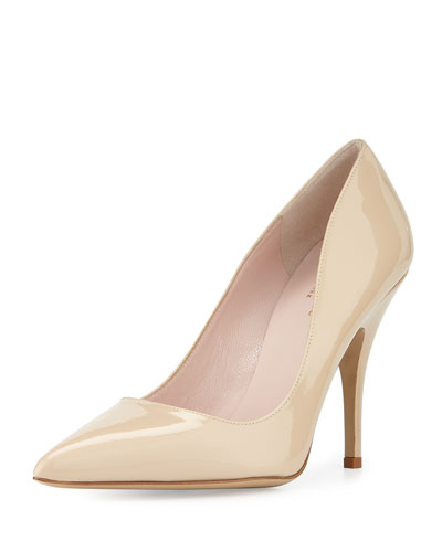 Kate Spade Licorice Patent Leather Point-Toe Pump, Powder