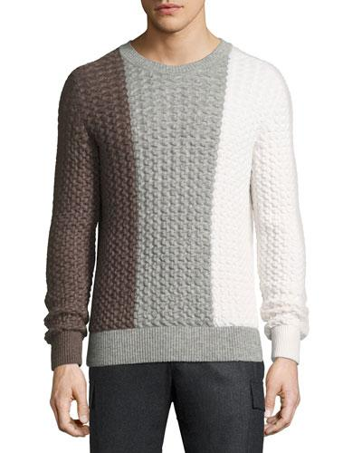 Berluti Tricolor Cable-knit Crewneck Sweater In Fancy Salt
