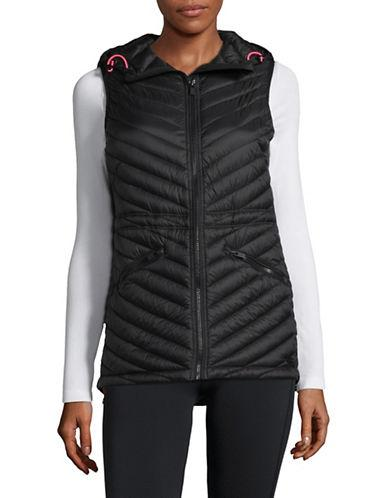 Dkny Hooded Quilted Down Vest-black