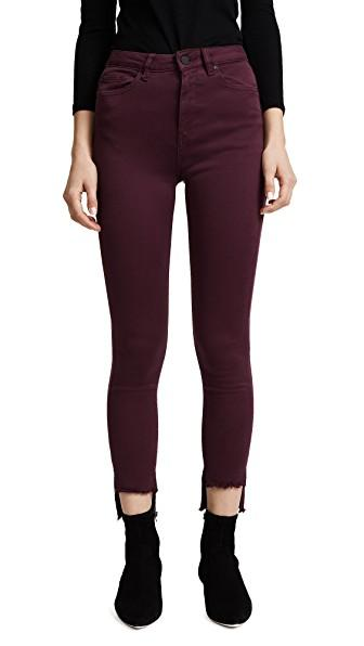 Dl 1961 Chrissy Trimtone High Rise Skinny Jeans In Rouge Noir