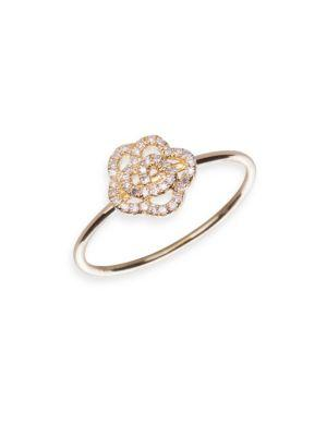 Ef Collection Diamond Rose Stacking Ring In Yellow Gold