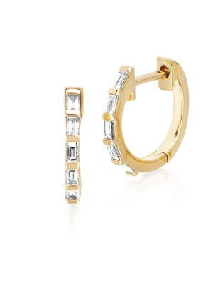 Ef Collection Baguette Diamond Huggie Hoops In Yellow Gold