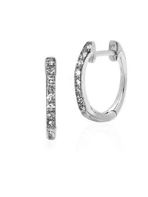Ef Collection Huggie Diamond Hoops In White Gold