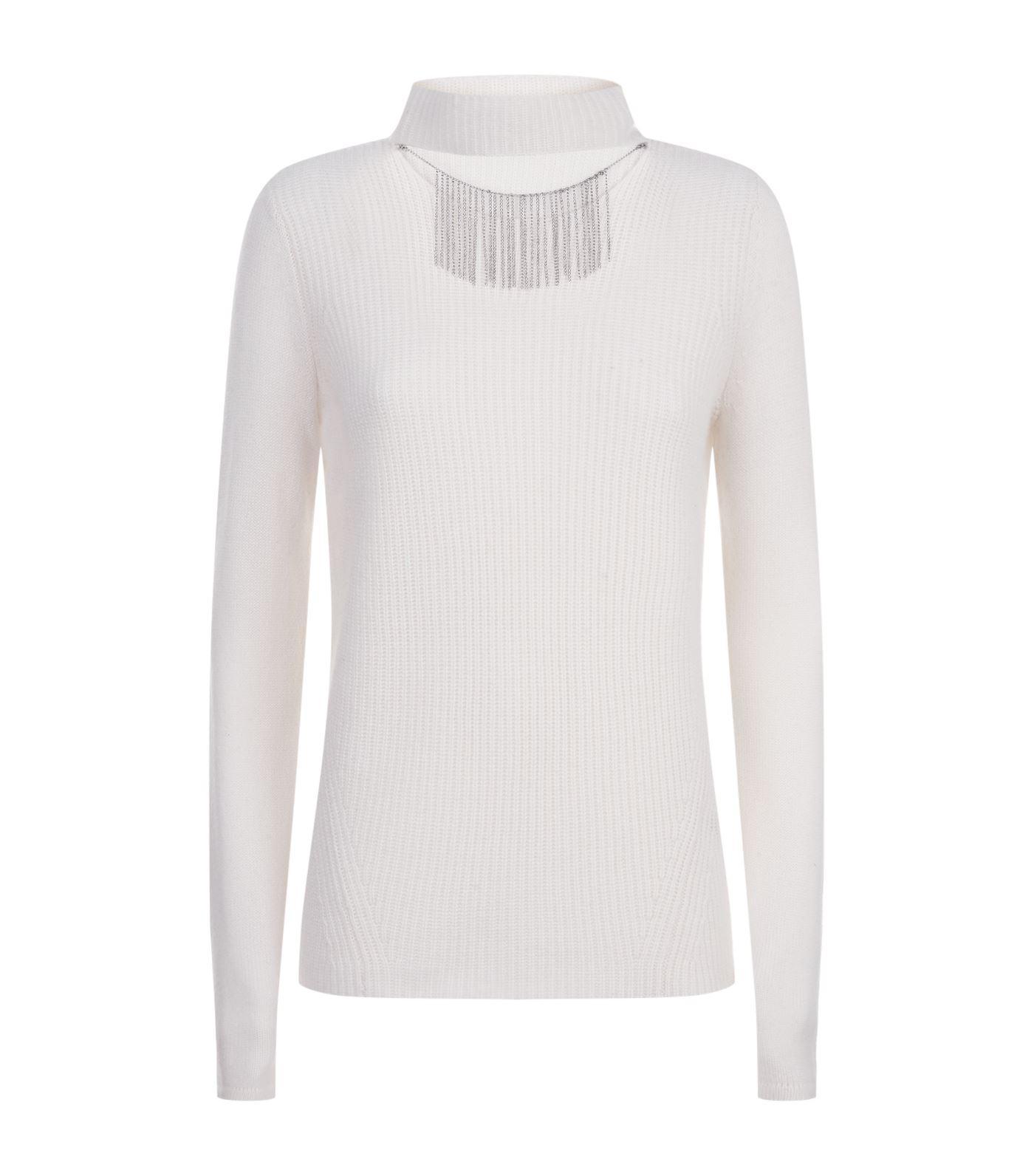 Elie Tahari oz Chain Cashmere Sweater In White