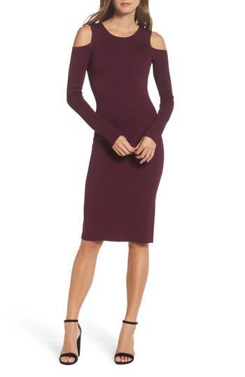 Eliza J Cold Shoulder Knit Body-con Dress In Aubergine