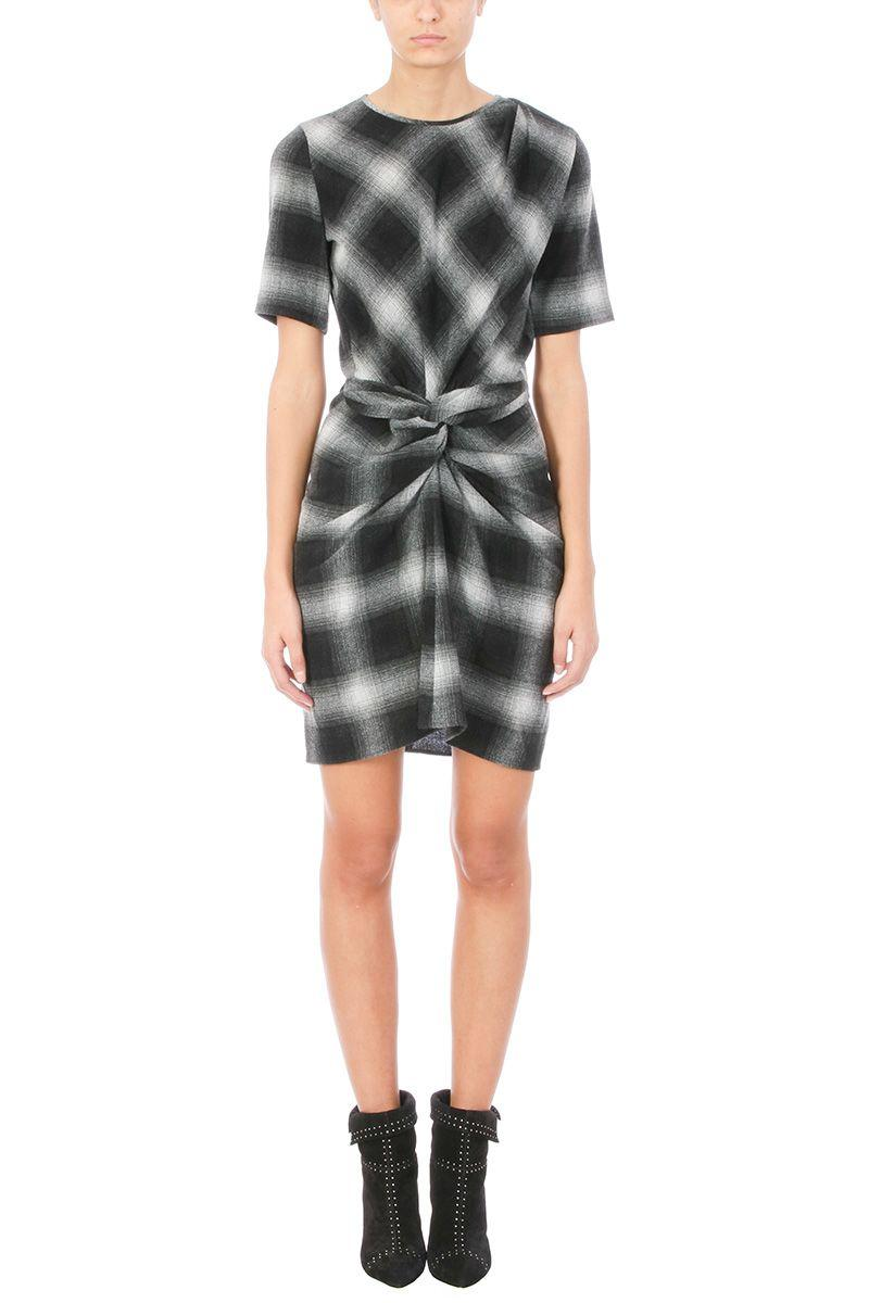 Etoile Isabel Marant Pardena Plaid Wool-blend Dress In Grey