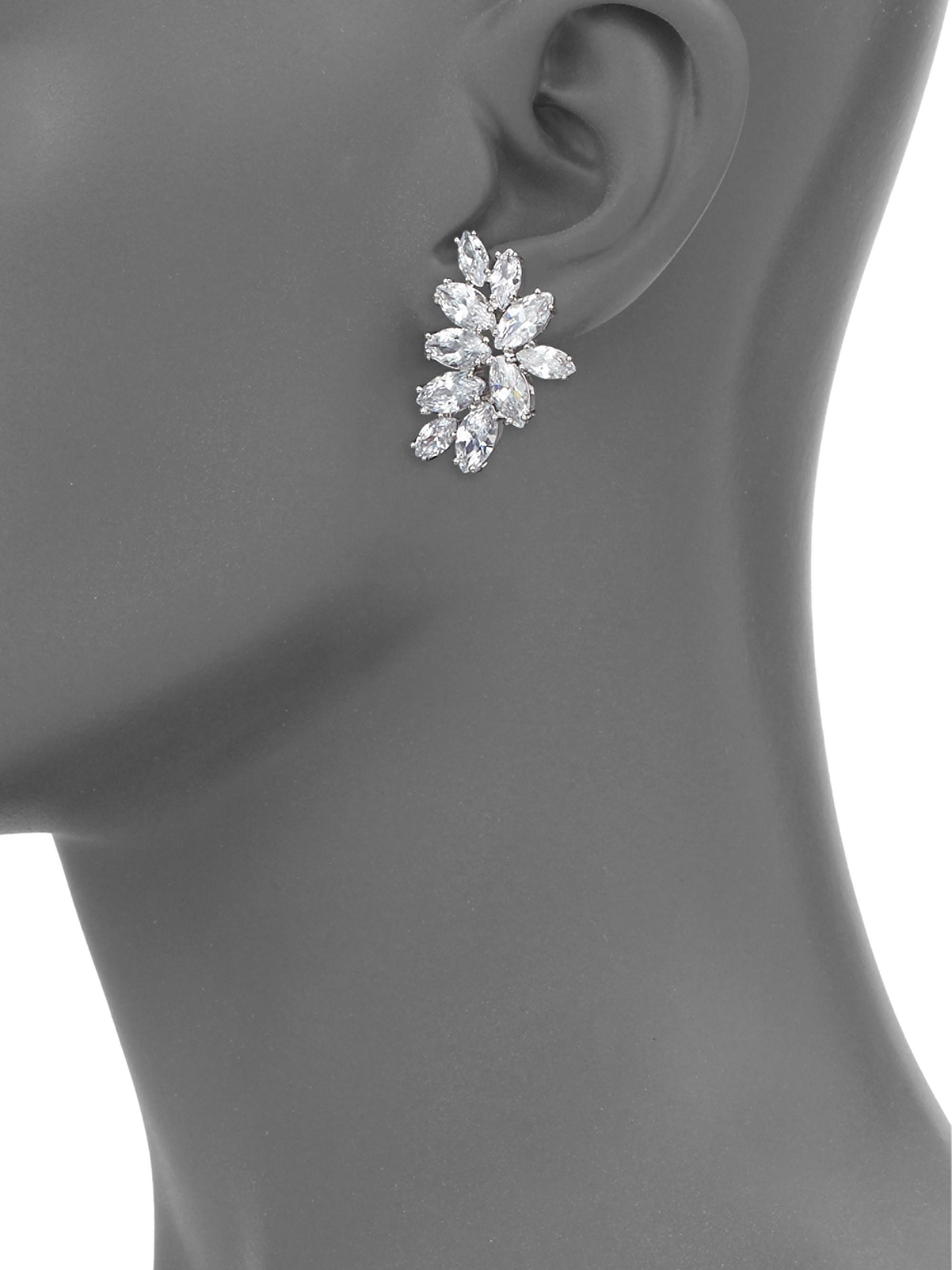 Fallon Crescent Crystal Stud Earrings In Silver