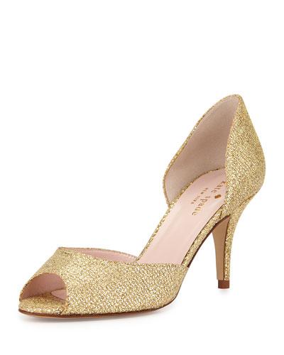 Kate Spade Sage Glitter Peep-Toe Pump, Gold In Gold Starlight
