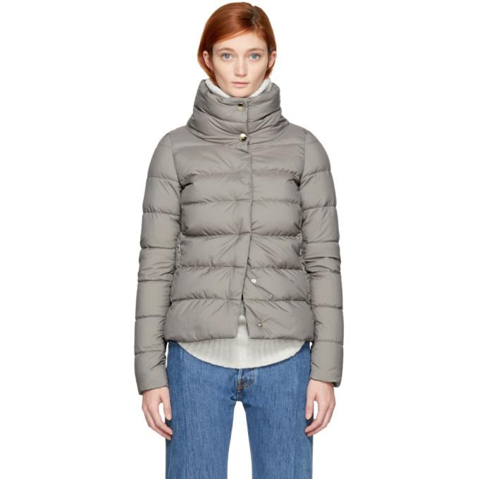 46d77dad5 Grey Down High Collar Puffer Jacket