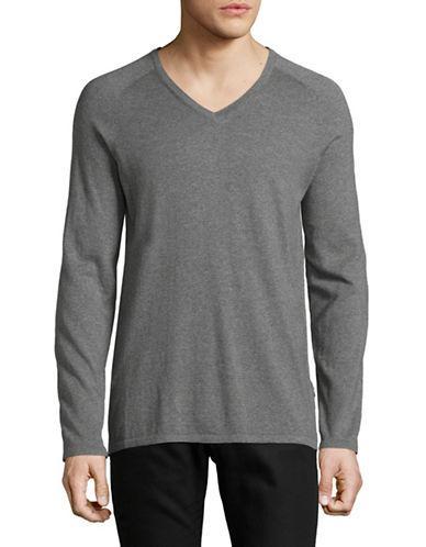 Hugo Cashmere-blend Long Sleeve Sweater-grey