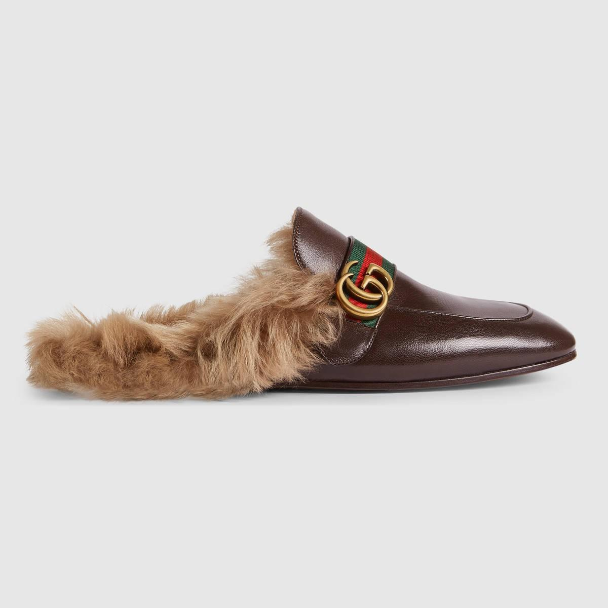 Gucci Princetown Appliqué Slippers - Brown