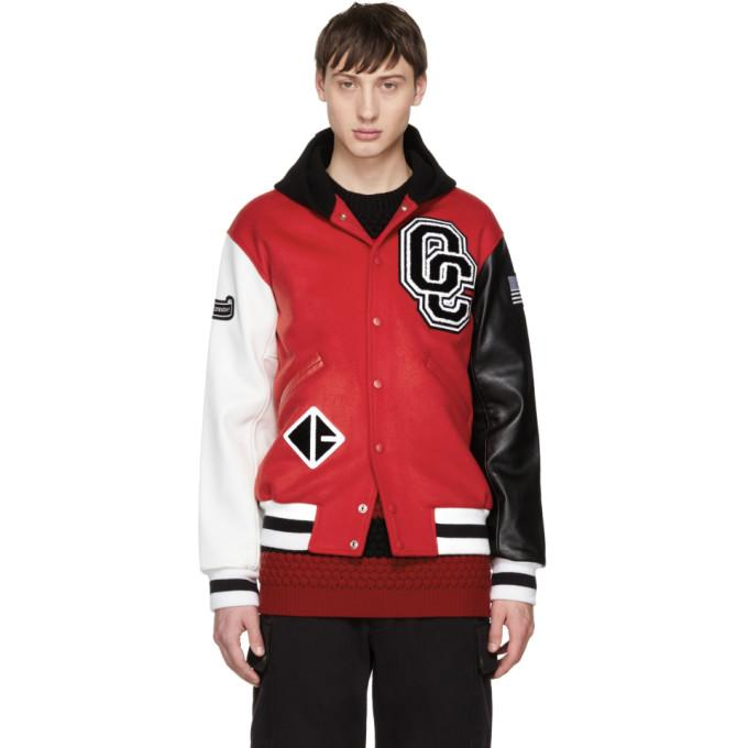 Opening Ceremony Red Limited Edition Hooded Varsity Bomber Jacket In Red 6201