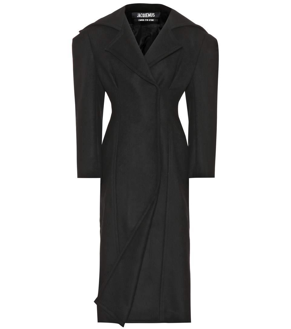Jacquemus Le Manteau Long Virgin Wool Coat In Llack