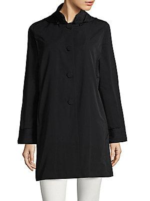 Jane Post Taffeta Swing Coat In Navy
