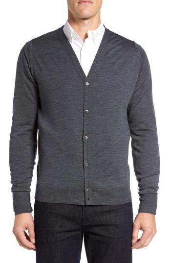 John Smedley 'bryn' Easy Fit Wool Button Cardigan In Charcoal