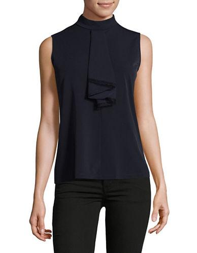 Karl Lagerfeld Paris Jabot Sleeveless Top-blue