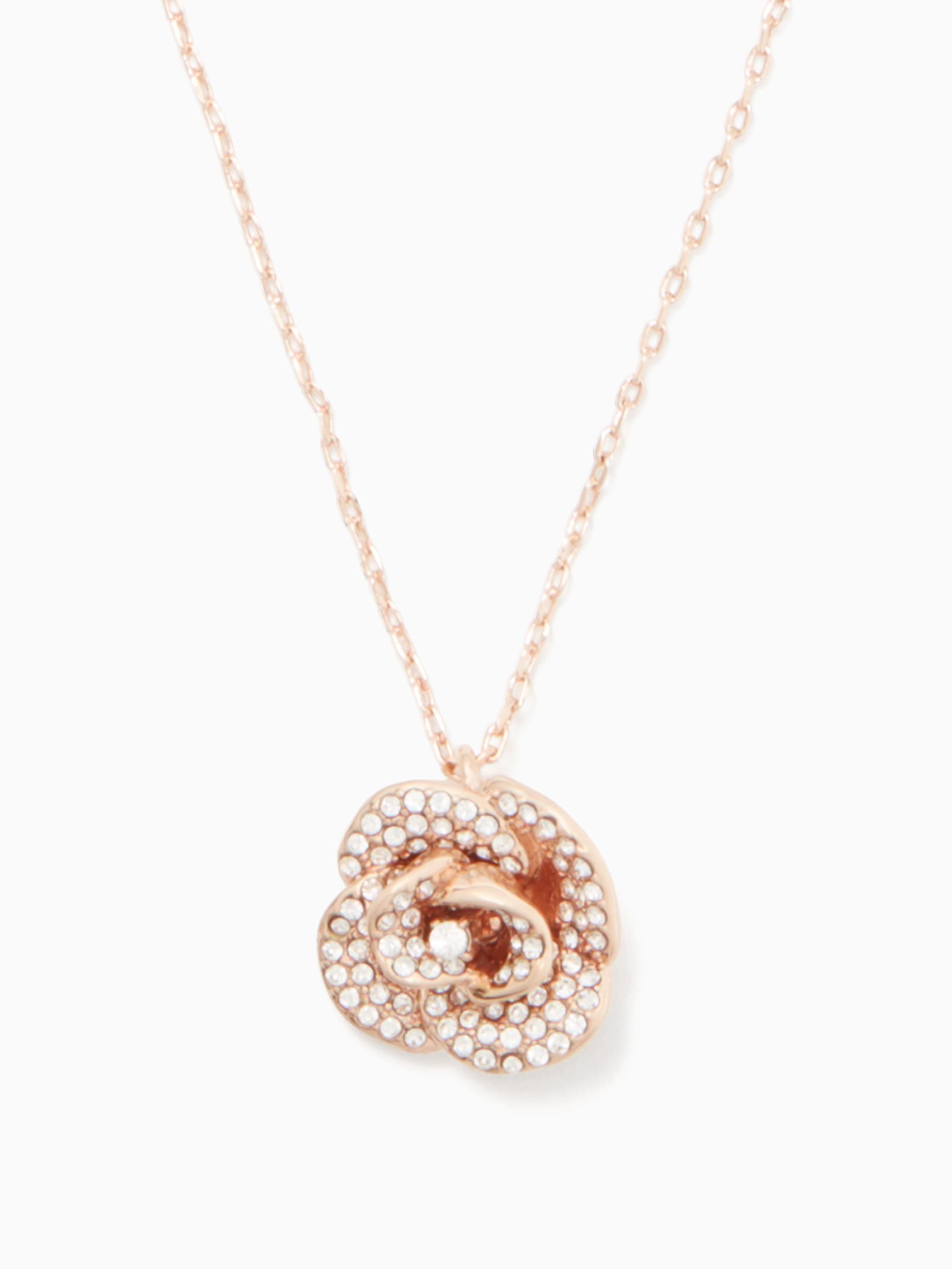 Kate Spade Midnight Rose Mini Pendant In Clear/rose Gold