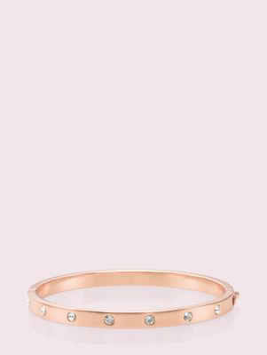 Kate Spade Set In Stone Stone Hinged Bangle In Clear/rose Gold
