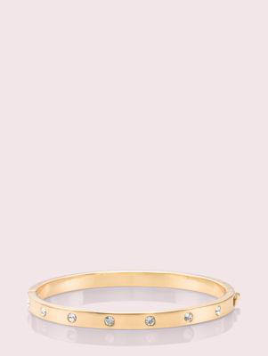 Kate Spade Set In Stone Stone Hinged Bangle In Clear/gold
